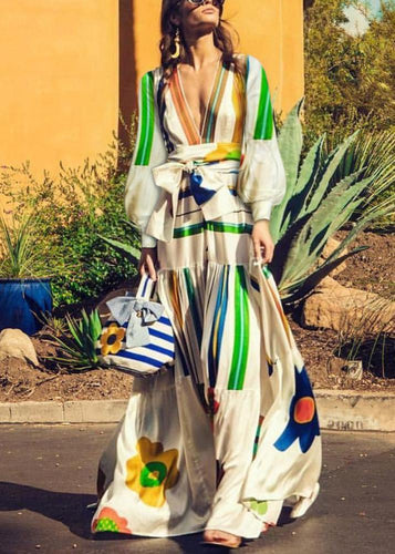Bishop Sleeve Printed Colour Belted Maxi Dress