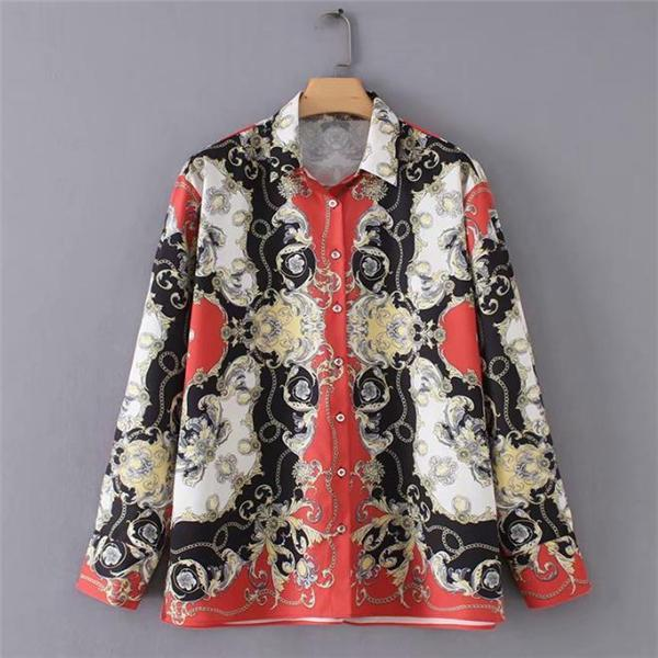 Ethnic Fashion Retro Floral Loose Print Long Sleeve Blouse