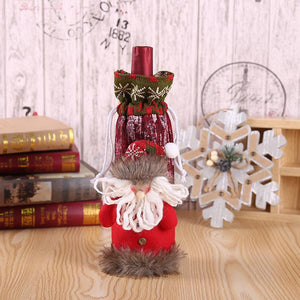 Christmas Decorated Accessory Knit Wine Bottle Cover