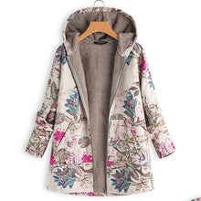 Winter Cotton Jacket Casual Floral Print Coat