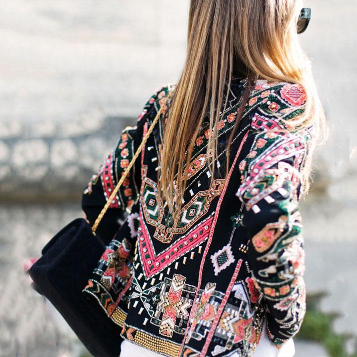 Vintage Fashion National Printed Slim Short Coat
