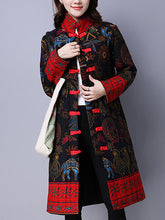Ethnic Style Printed Long-Sleeve Cotton And Linen Casual Coat