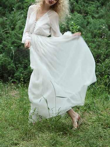 Women's Retro Literary Chiffon Bohemian Maxi Dress