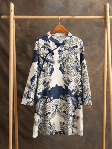 Winter Blue And White Procelain Print  Long Sleeve Cotton A-Line Dress