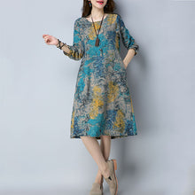 New Printed Ethnic Wind Cotton Long Sleeve Dress