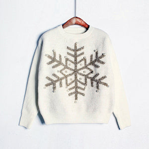 Christmas Snowflake Sequin Beaded Pearl Knit Sweater