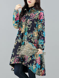 Fashion Ethnic Style Cotton Linen And Velvet Long Coat