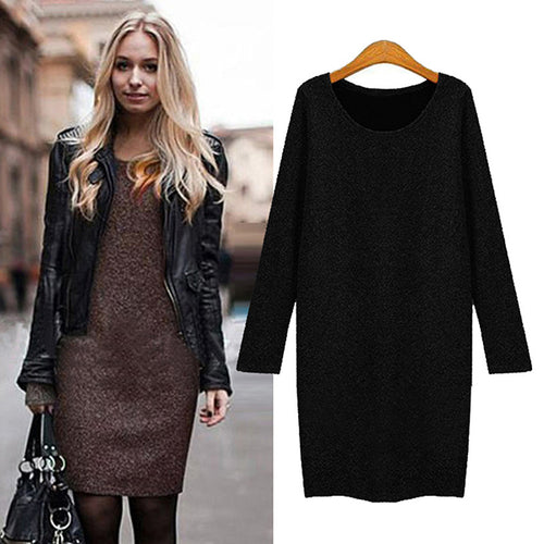 Women's Round Neck Long Sleeve Loose Slim Dress