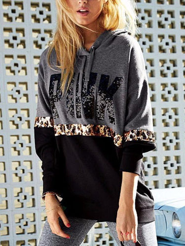 PINK Letter Print Hooded Leopard Stitching Sweater