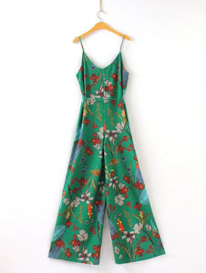 Fashion Joker Slim Thin Casual Harness Flower Print Jumpsuit