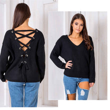 Women Sexy Lace Up Backless Loose Knitting Sweater