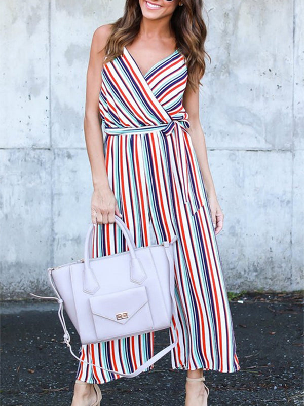 Sexy Casual Stripe Sleeveless Jumpsuit