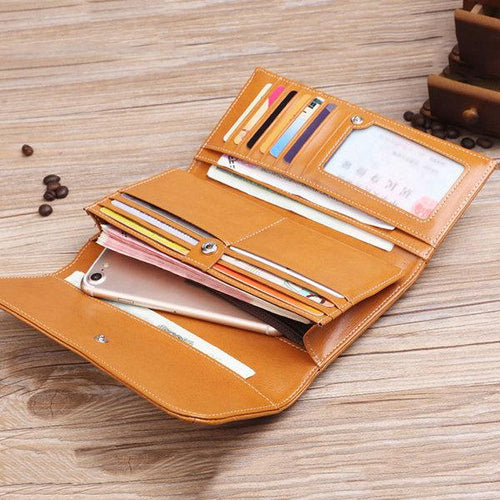Oil Genuine Leather Multi-Slots Wallet Hollow Out Long Purse Card Holder For Women