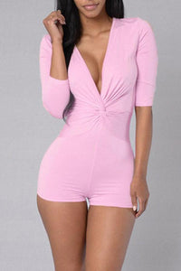 Deep V Pink Plus Size Slim Fit Rompers