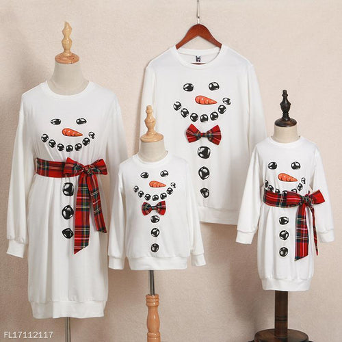 Christmas Snowman Pattern Plaid Round Neck Pullover Family Outfits