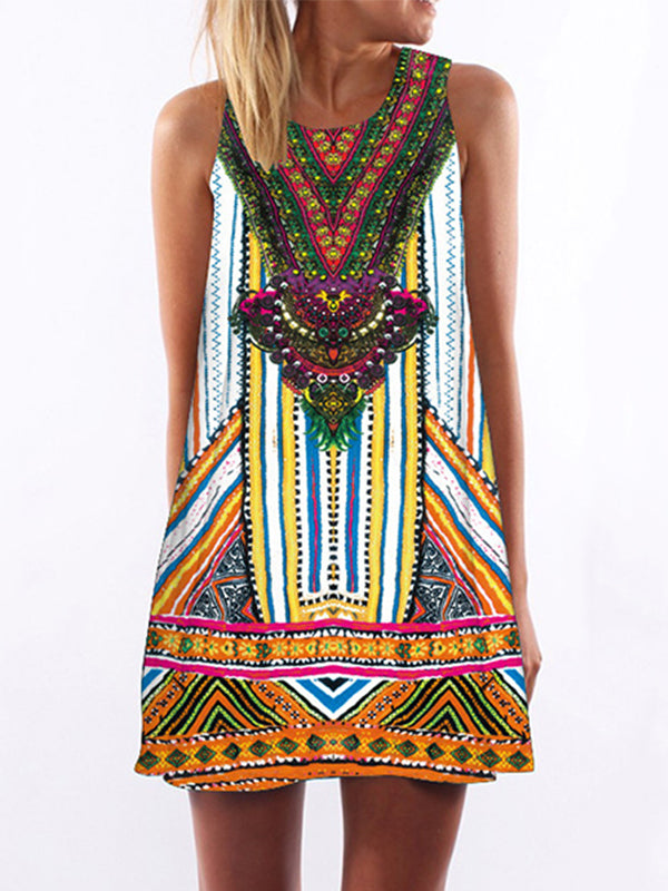 3D Vintage Pattern Print  Mini Dress
