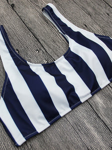 White/Black Vertical Stripe Swimsuit