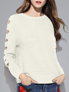 Women's Pullovers O-Neck Hollow Out Knitted Loose Sweaters