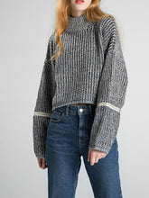 Loose High Collar Long Sleeve Short Pullover Sweater