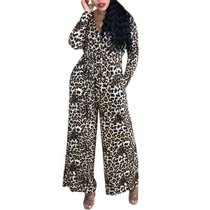 Fashion V-Neck Long-Sleeve Leopard Print Jumpsuit