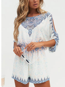 Fashion Short Sleeves Floral Print Rompers