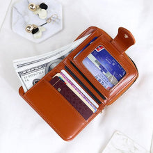 Women Oil Wax Leather Short Wallet 4 Card Slot Coin Purse