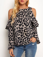 Off-Shoulder Leopard Printed Long Sleeve T-Shirts