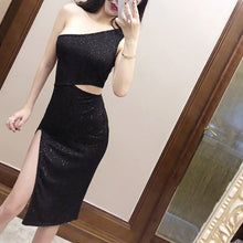 Oblique Collar Ruffles Sleeveless Elegant Bodycon Dress