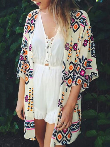 Fashion Floral Short Sleeve Vacation Cardigan
