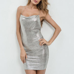 Halter High Slit Plain Mini Dress