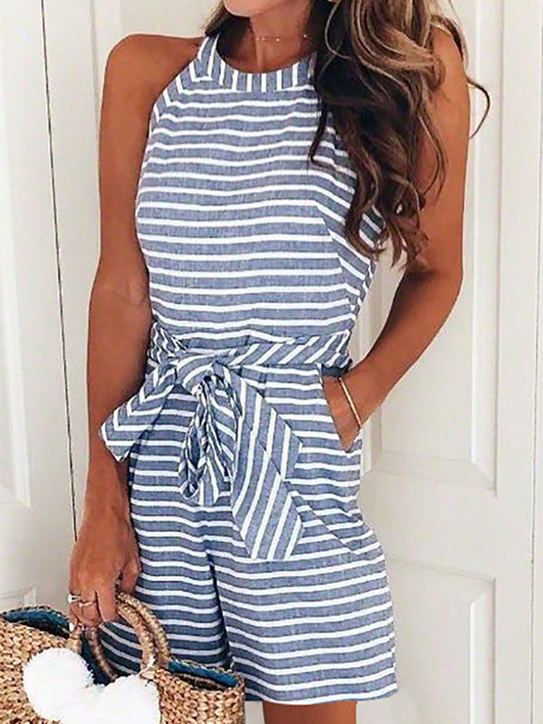 Fashion Casual Sleeveless Stripe Rompers