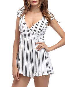 Deep V-Neck  Striped Jumpsuits