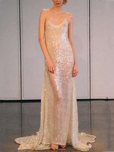 Sliver Sequin Sexy Strap Evening Dress