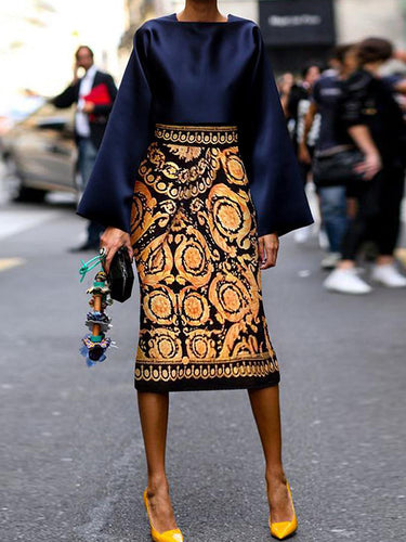 Early Fall Chic Square Collar Top With Vintage Printed Skirt Suits