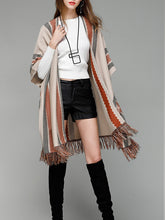 Women's Knitwear Shawl Cardigans Striped Tassel Sweaters