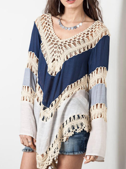 Women Long Sleeve Hollow Out Sweater