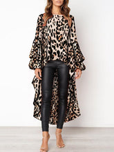 Fashion Leopard Print Asymmetric Hem Lantern Sleeve Shirt