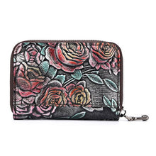 Vintage Casual Floral Genuine Leather Card Holder Coin Purse Wallet For Women