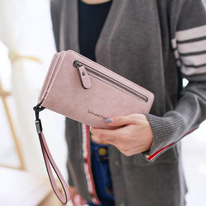 Elegant Long Wallet PU Leather Zipper Purse Card Holders Phone Bags