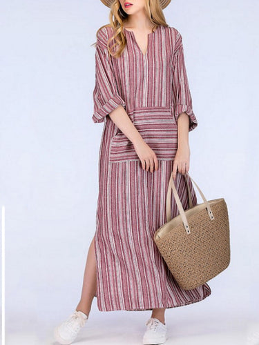 Cotton And Linen Striped Yarn-Dyed Irregular Long Dress