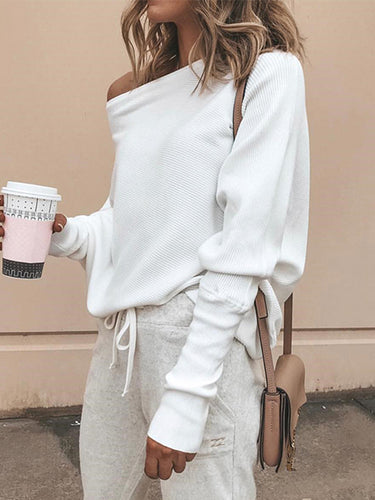 Stylish Bat-Sleeve Ribbed Baggy Knit Top