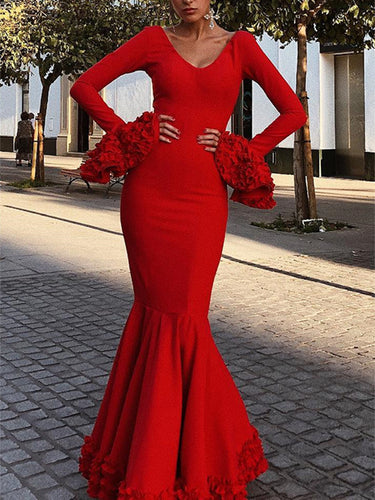 Sexy Plain Deep V Collar Ruffled Long Sleeve Hem Evening Dress
