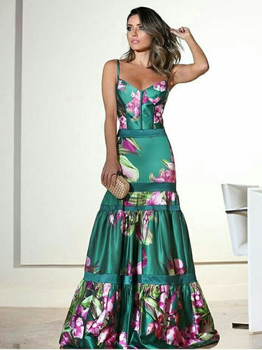 Fashion Sexy Floral Plunge Ruffles Layered Hem Evening Dress