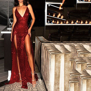 Sexy Deep V Strap Sequined Mesh Maxi Dress