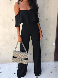 Flounce Pure Color Sling Jumpsuit