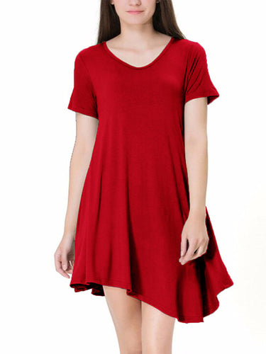 Round Collar Short-Sleeved Irregular Skater Dress
