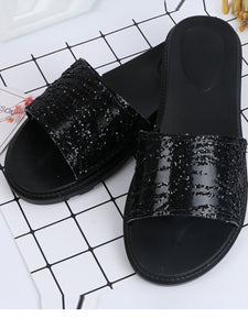 Fashion Sequins Pure Color Flat Shoes