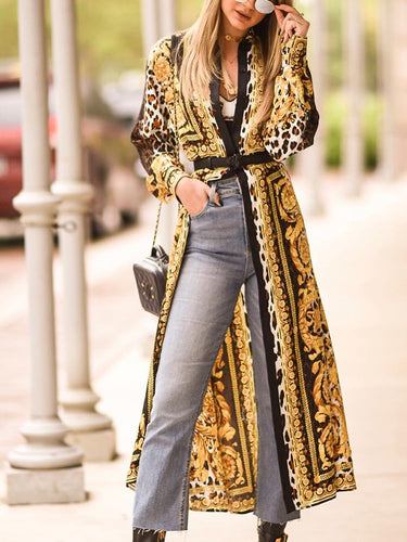 Fashion Floral Printed Long Cape Dress