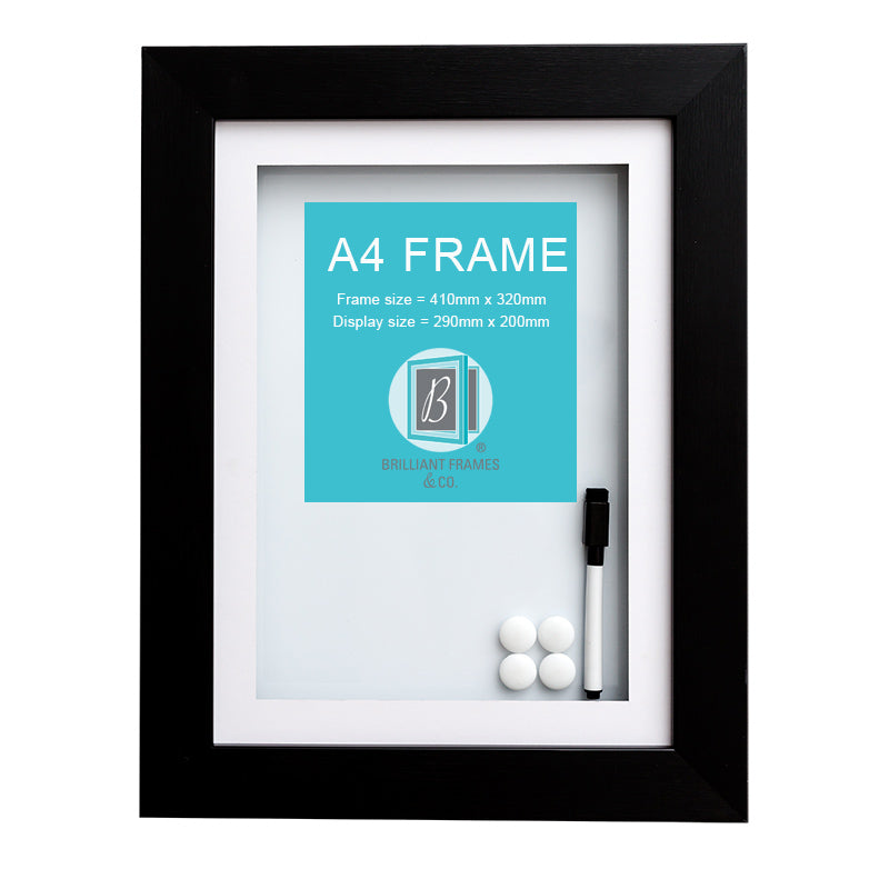 A4 Black Front Opening Picture Frame + Magnetic Whiteboard