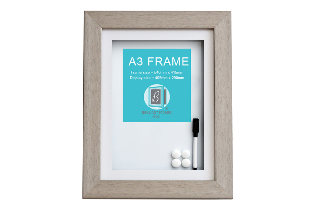 Large A3 Grey Front Opening Picture Frame + Magnetic Whiteboard